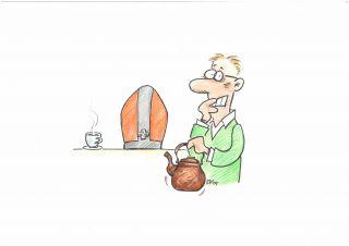 Erkki Kuusanmäen piirros kahvia kaatavasta kaverista.
