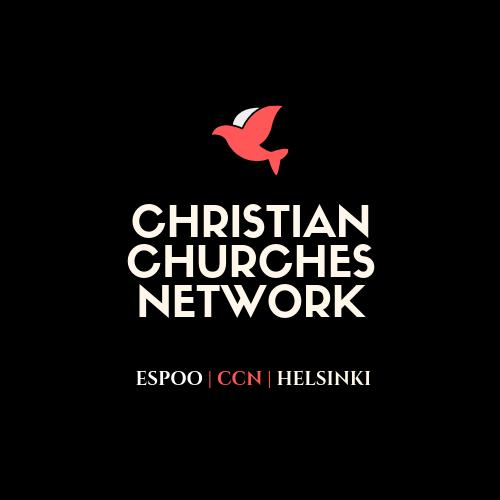 Christian Churches network -logo mustalla pohjalla punainen lintu sekä valkoisella CCN teksti