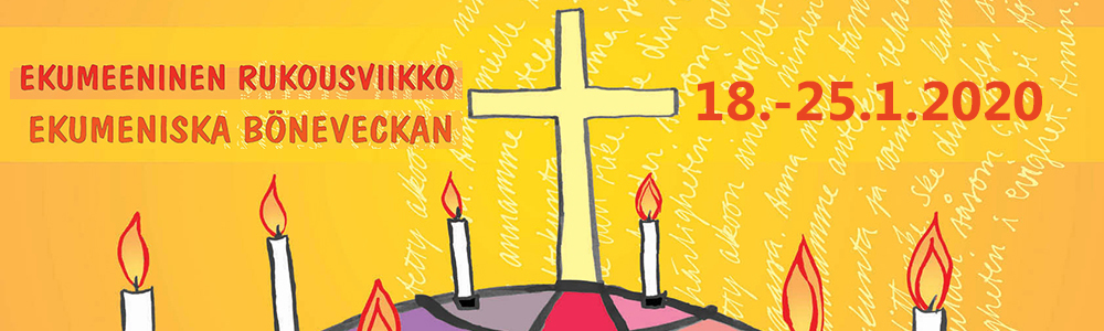 Ekumeenisen rukousviikon logo. Piirros, jossa keltaisella pohjalla maapallo, kynttilöitä ja risti