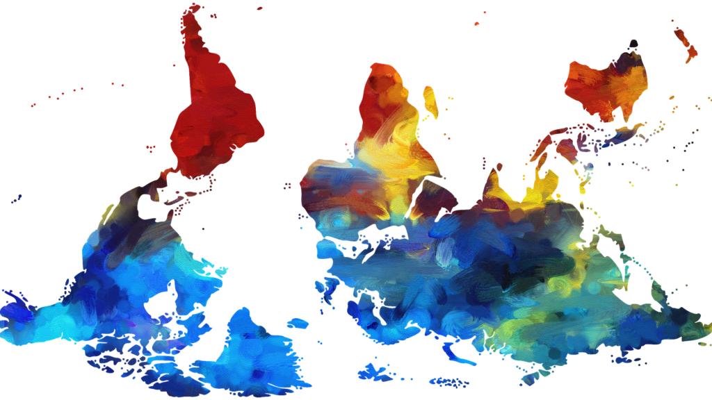 Värikäs maailmakartta ylösalaisin